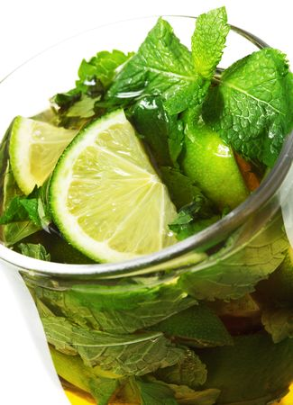 Warm Mojito - Alcoholic Cocktail with Apple Juice and Mint and Lime Stock Photo - 5883593