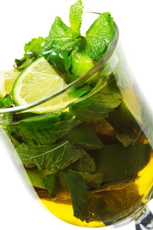 Warm Mojito - Alcoholic Cocktail with Apple Juice and Mint and Lime photo