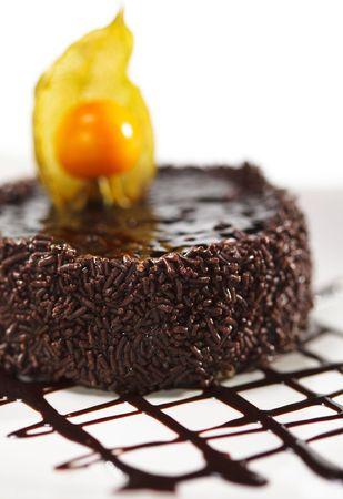 Dessert - Chocolate Iced Cake with Poppy Seed. Extreme Macro photo
