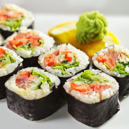 Japanese Cuisine - Fresh Vegetarian Maki Sushi Stock fotó