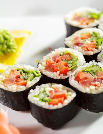 sushi plate: Japanese Cuisine - Fresh Vegetarian Maki Sushi