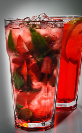 mohito: Energy Mohito with Mint and Lime and Strawberries Stock Photo