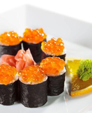Ikura (Salmon Roe) Maki Sushi wrap a Nori (Seaweed) photo