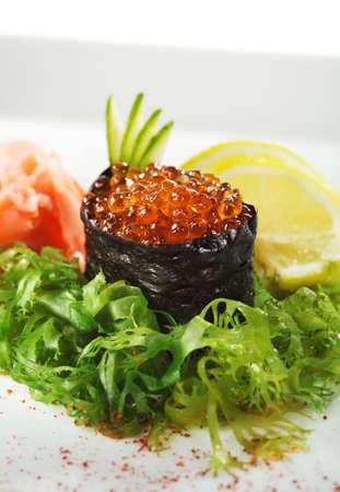 Ikura (Salmon Roe) Gunkan Maki Sushi with Cucumber photo