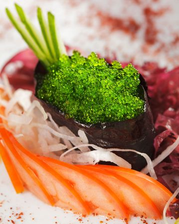 Green Tobiko (Flying Fish Roe) Gunkan Maki Sushi photo