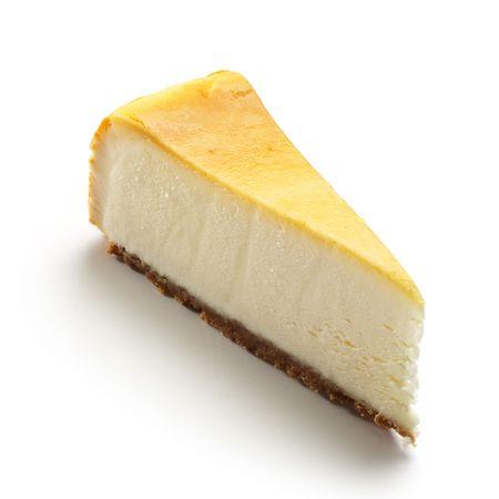 Cheesecake geïsoleerd op witte achtergrond Stockfoto