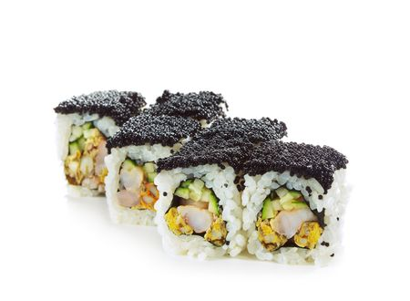 Maki Sushi with Prawn, Cucumber and Fried Seafood inside. Topped with Black Tobiko (flying fish roe) photo