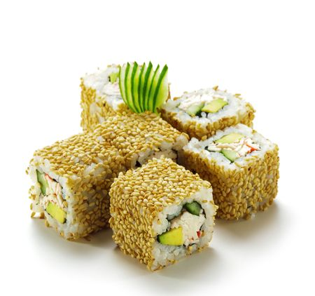 California Maki Sushi with Sesame - Roll made of Imitation Crab, Avocado, Cucumber, Japanese Mayonnaise inside. Sesame outside photo