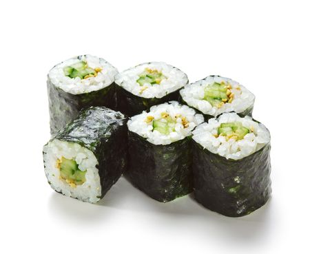 sushi plate: Kappamaki - Cucumber Sushi Roll. Isolated over White