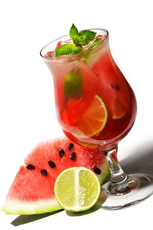 Watermelon Caipirinha - Cocktail with Watermelon, Cachaca, Rum, Sugar and Lime. Isolated on White Background Stock Photo