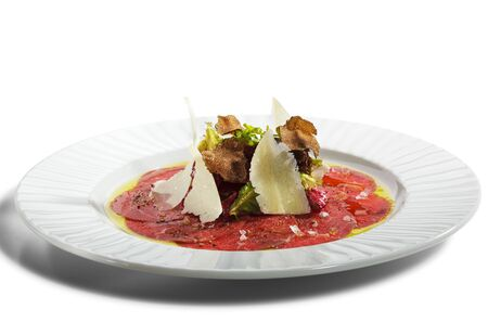 white truffle: Beef Carpaccio with Salad, Nero e Bianco Tartufo  (Black & White Truffle)