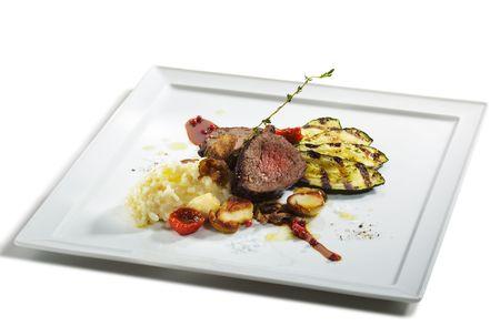 porcini: Prime Veal with Risotto, Tartufo Nero (Black Truffle), Zucchini Grill, Porcini and Dried Tomato