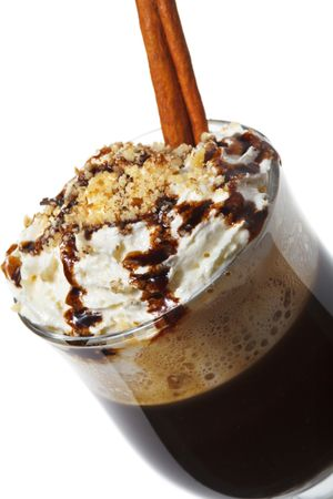 warm drink: Warm Drink - Chocolate with Rum and Coffee. Served with Whipped Cream and Cinnamon Stick and Nuts