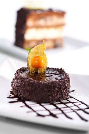 Dessert - Chocolate Iced Cake with Poppy Seed photo