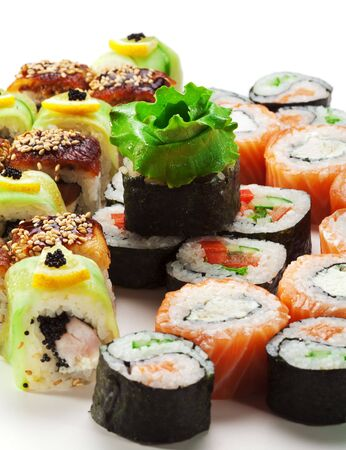 philadelphia roll: Sushi Set - Different Types of Maki Sushi (Philadelphia roll, Yin Yang Roll, Salmon and Smoked Eel Roll, Vegetarian Roll, Cucumber Roll)