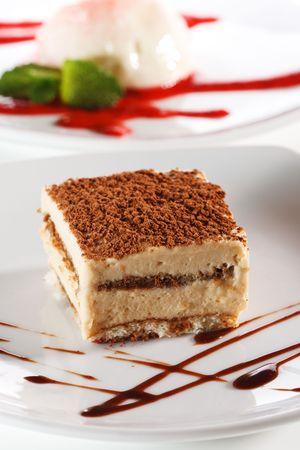 tiramisu: Dessert - Tiramisu Cheesecake with Chocolate Sauce