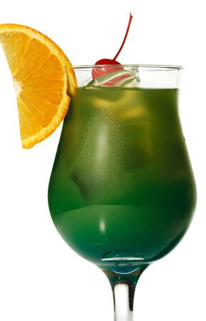 Green Alcoholic Cocktail with Orange Slice and Red Cherry photo