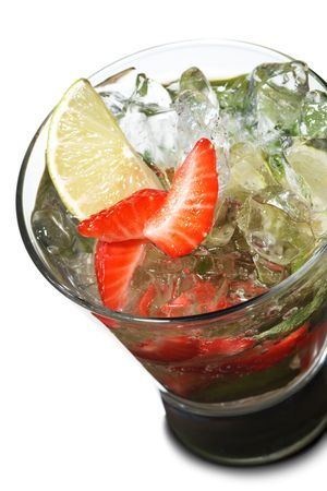 Cocktail - Berry Mojito with Lime Slice and Strawberry Stock Photo - 6549664