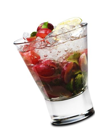 Cocktail - Grape Mojito with Lime and Fresh Mint Stock Photo - 6549663