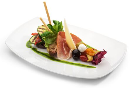 cured: Antipasto - Italian meal. Includes Cured Meat, Artichoke, Parmesan Cheese, Olives and Zucchini