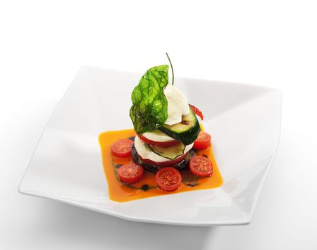 caprese salad: Insalata Caprese - Italian salad, made of Tomatoes, Zucchini and Buffalo Mozzarella Cheese