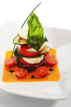 Insalata Caprese - Italian salad, made of Tomatoes, Zucchini and Buffalo Mozzarella Cheese Stock Photo - 6550007