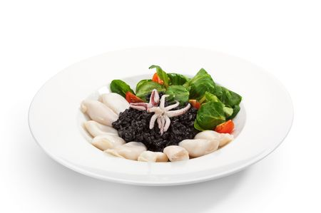 Black Risotto with mini Squid and Raclette Salad photo