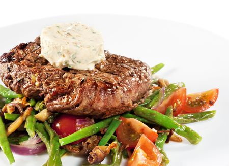 julienne: Beef Steak with Butter and Vegetable Julienne