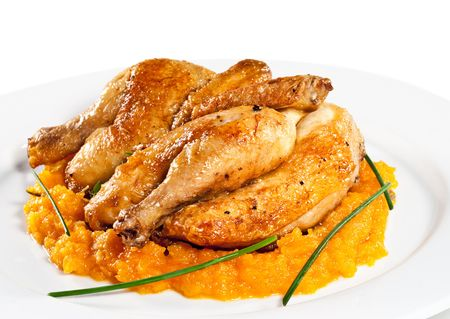 Roast Chicken with Pumpkin Sauce and Greens Stock Photo - 6781215