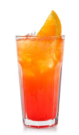 Refreshment Alcoholic Drink with Tequila, Orange Juice, and Grenadine Syrup photo