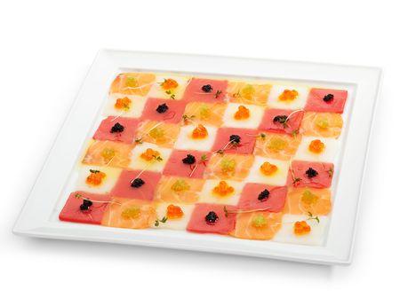 Seafood Carpaccio (Salmon, Tuna and Scallop) with Vaus type of Caviar Stock Photo - 6781308