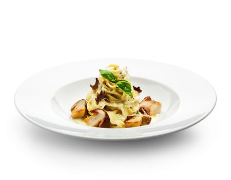 white truffle: Tagliatelle with Mushroom, Cream Sauce, Truffle and Basil Leaf Stock Photo