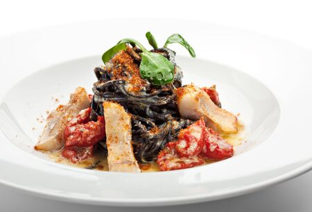 Black Spaghetti with Sea Bass and Batarga (dried, salted, pressed red roe) and Dried Cherry Tomato. Served with Fresh Corn Salad Leaves Stock Photo - 6781135