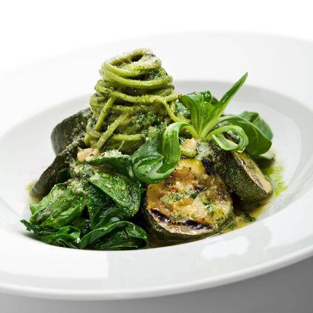 Green Spaghetti with Zuchinni, Fresh Spinach and Pesto Sauce photo