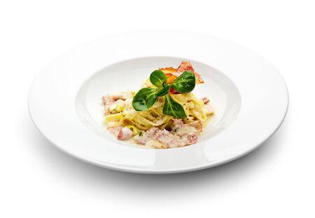 carbonara: Tagliatelle with Carbonara Sauce and Bacon Stock Photo