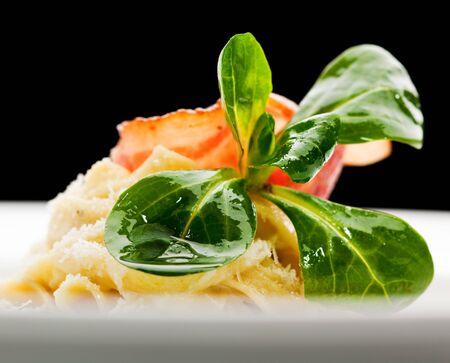 Tagliatelle garnished with Fresh Corn Salad Stock Photo - 6781074