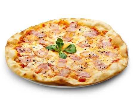 carbonara: Pizza Carbonara with Bacon and Yolk of Chicken Egg