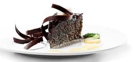 Dessert - Chocolate Cake with Cherries Jam and Sauce photo