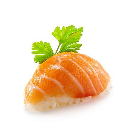 sake: Cocina japonesa - Salmon (bien) Nigiri Sushi servido con perejil Foto de archivo