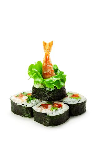 Vegetables and Shrimp Maki Sushi -  Roll made of Tomato, Cucumber, Bell Pepper, Salad Leaf and Shrimp. Garnished with Salad Leaf and Shrimp (ebi) photo