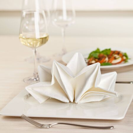 white wine glass: Served Place Setting with White Wine Glass Stock Photo