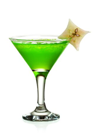 Cocktail with Midori, Rum, Lychee and Apple Stock Photo - 7010026