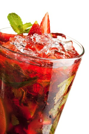 Berries Mojito with Energy Drink, Strawberry and Lime and Sweet Syrup. Nonalcoholic Beverage