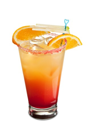 grenadine: Tequila Sunrise Cocktail - Tequila, Orange Juice and Grenadine Syrup and Soda Water
