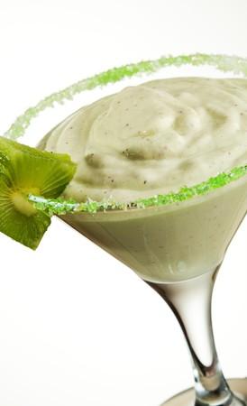 frozen glass: Frozen Kiwi Cream Cocktail - Kiwi Ice Cream with Cream and Sugar Syrup