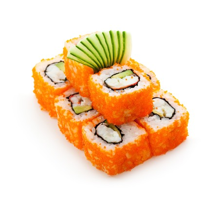 california roll: California Maki Sushi with Masago  - Roll made of Crab Meat, Avocado, Cucumber, Japanese Mayonnaise inside. Masago (smelt roe) outside Stock Photo