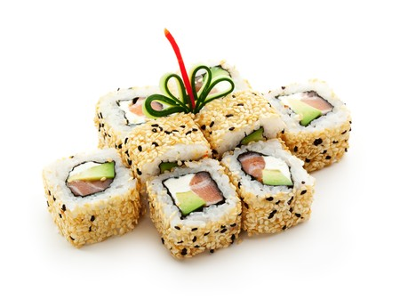 sushi plate: Maki Sushi - Roll with Smoked Salmon, Cream Cheese, Salad Leaf and Avocado inside. Sesame outside.