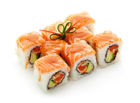 sake maki: Maki Sushi - Roll made of Smoked Eel, Cream Cheese and Deep Fried Vegetables inside. Fresh Salmon outside Stock Photo