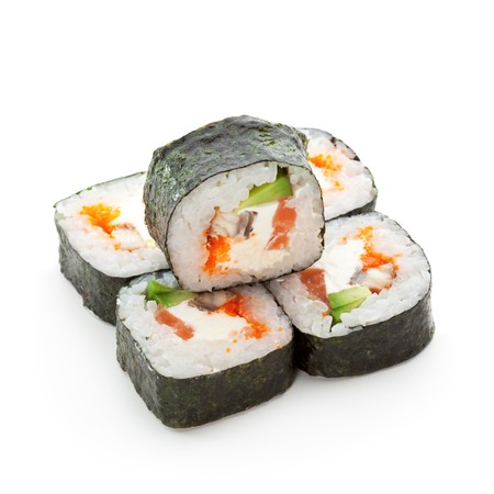 eel: Philadelphia Maki Sushi - Roll made of Smoked Eel, Cream Cheese, Tobiko and Salmon inside. Seaweed outside Stock Photo