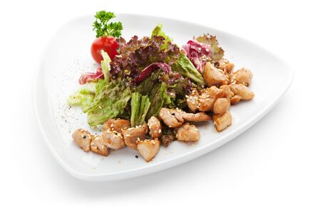 chicken fillet: Salad with Chicken Fillet and Salad Leaf Stock Photo